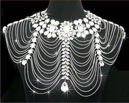 Body Jewerly Diamant Cristal Rhinestone Tassel Épaule Chaîne Châle Envelopper Cape Mariée Mariée