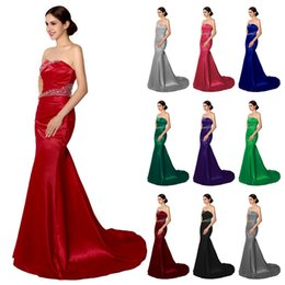 Wholesale 2016 Stock Cheap Mermaid Bridesmaid Dresses Cheap Burgundy Silver Gray Purple Blue Maid of Honor Dress Wedding Evening Gowns Corset Under