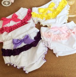 Wholesale Baby Clothes Girls Short Pants Babies Girl Lovely Lace Bow Briefs Kids Clothing Children Plain Cotton Undwear Infant PP Pant Color I3189