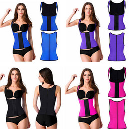 Wholesale XS XL Colors Shoulder Straps Waist Trainers Latex Sport Waist Cincher Vest Rubber Steel Boned Waist Trainer Corset Shapewear
