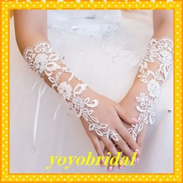 Wholesale 2015 High Quality Lace white Ivory Glove Cheap Wedding Bridal Gloves fingerless wedding gloves Dress