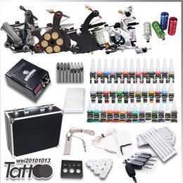 Wholesale Tattoo Kits Guns Machines Colors Ink Sets Bottle Pieces Disposable Needles Power Supply Tips Grips Complete D120VD