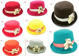 Wholesale 2015 pretty bear bucket hats fashion baby hat candy colors cute bow children autumn hat new styles birthday gift D3