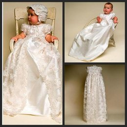 Wholesale 2015 Arrival Imitated Silk Baptism Baby Girls Dresses Beautiful Appliques Lace Long Newborn Christening Gowns First Communion Dresses