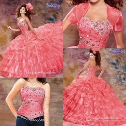 Wholesale Romantic Sweet Debutante Prom Skirt Vestidos De New Quinceanera Dresses With Jacket Detachable Beaded Crystal Birthday Party Wear