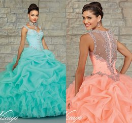 Wholesale 2015 Sheer Back Quinceanera Dresses Long Ball Gown With Beaded Sequins Ruffled Skirt vestidos de Cheap Gown zahy645