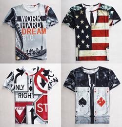 Wholesale Summer d cotton pullover tee shirt Unisex Hip Hop Card FLAG print Retail tshirt t shirt Model Size S M L XL