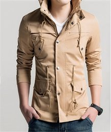 Wholesale Fall FreeShipping New Sale Classic Military Style Pure Color Jackets for Men Leisure Coats with Pockets Hoodies Jacket for Men