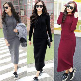 Wholesale Fashion Women s Autumn Winter Fleece Hoodie Slim Bodycon Pullover Sweatshirt Long Maxi Dress