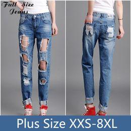 Wholesale Al por mayor más el tamaño de los pantalones vaqueros holgados novio Ripped jeans para mujeres apenada vintage de los pantalones del lápiz de la vendimia con el agujero grande XL