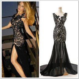 Wholesale In Stock Black Evening Dresses Lace Applique Split Sexy Lace Up Sleeveless Chiffon Formal Prom Party Ball Gown