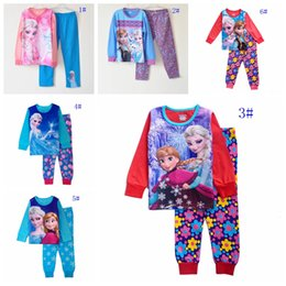 Wholesale 6 styles girls pajamas baby girl frozen clothes elsa anna girl s pajama children sleepwear kids Homewear Loungewear girl cute night suits
