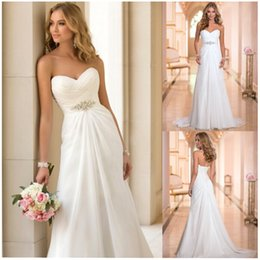 Wholesale Vestidos De Novia Sexy Chiffon Beach Wedding Dresses Vintage Boho Cheap Sweetheart Sheath Court Train Bandage Robe De Mariage Casamento