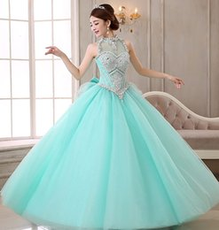 Wholesale 2015 Vintage Cheap Red Quinceanera Halter perles Corset et Tulle Debutante Robes Sweet filles Bal Masqué Robes