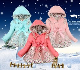 Wholesale 2015 Winter Girls Outerwear Floral Hooded Lined Baby Kids Jacket Coat Snowsuit