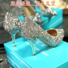 Wholesale Simple Style Pointed Toe Wedding Shoes for Bride with High Stiletto Heels Silver Gold White Ivory Sequins Women Bridal Party Prom Shoes