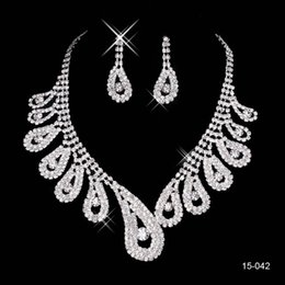 Wholesale 2015 Bridal Jewelry Wedding Bridal Rhinestone Accessories Necklace and Earring Ear Stud Style Sets Silver Plated New Without Tags