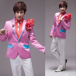 Wholesale Custom Slim Fit Pink one Button Groom Tuxedos Peak Lapel Best Man Groomsmen Men Wedding Suits Bridegroom Jacket Pants Tie performan