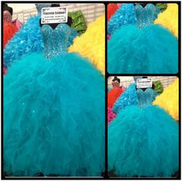 Wholesale Vestidos de anos Blue Ball Gown Ragazza Quinceanera Dresses Masquerade Ball Dress Sweet Dresses Debutante Gowns