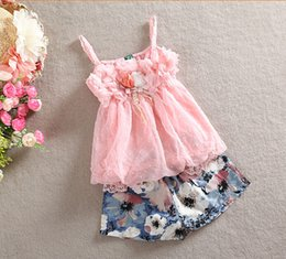 Wholesale 2015 new girls summer suits girl braces skirt short pant pieces sets children clothing kids baby set baby clothing TZ094