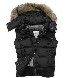 Wholesale New Womens Down Vests Jacket with Fur Detachable Hood Lady Gilet Zipper Buttons Duck Feather Puffer Solid Slim White Women s size S L