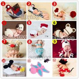 Wholesale Newborn Baby set Infant Handmade Animal Crochet Hat Costume Photo Photography Prop