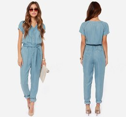 Wholesale 2015 Cheap Newest Fashion Summer Style Jumpsuit Women Long Sashes Short Sleeve Casual Solid Women s Clothes