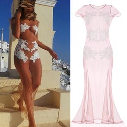 Wholesale Hot Sale Summer Beach Sexy Dress Women Seaside Transparent Sheer Dress Lady Sexy Short Sleeve Dress Sexy Dress DC8CA