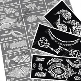 Wholesale 8pcs glitter Indian henna tattoo stencil temporary Henna tatoo paste large template professional stencils for painting Kit