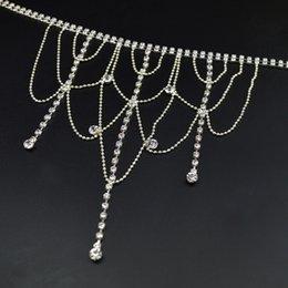 Wholesale 100pcs Ladies Diamonte Shoulder Chains Beads Crystal Armchains Bridal Dress Bra Straps Tassels Wedding Party Jewelry jj013