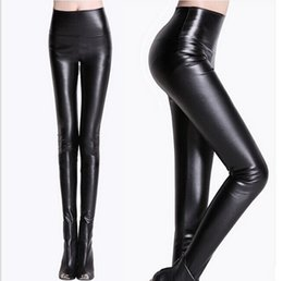 Wholesale Sexy Faux Leather Legging Fabric Stretchy High Waist Ladies Leather Look Leggings Women Trousers Pants High Waist Slim Leather Leggings