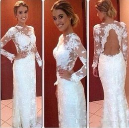 Wholesale 2015 Lace White Mermaid Dress Teen Formal Dresses See Through Plus Size Long Sleeve Evening Gowns Dresses