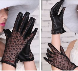 Wholesale Spring autumn lace fashion leather glove sunscreen unlined elegant UV protection driving glove