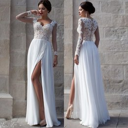 Wholesale White Beach Wedding Dresses Lace Bridal Gowns Applique Sheer Illusion Long Sleeves Split Prom Gowns Soft Chiffon Wedding Gowns Cheap