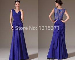 Wholesale MK02172 Glamorous Dark Blue Prom Gown Sexy V Neck Lace Back Pleats Vintage Elie Saab Mermaid Evening Dress