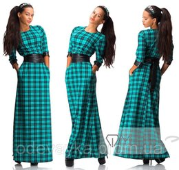 Wholesale New Women Plus Size Plaid Maxi Dresses European Styles Pendulum Ladies Sashes Slim Casual Prom Evening Dresses Women Clothing Apparel