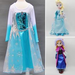 Wholesale 20sets set Spring girl party dress princess costume baby girls elsa dress tutu cm elsa anna plush toy doll Cheap