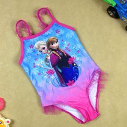 Wholesale 2015 New On sale Frozen Swimwear Girls Frozen Fever kids SwimSuit beach Swim Wear Swim Bodysuit Frozen Anna Elsa Swimsuit bathing suit