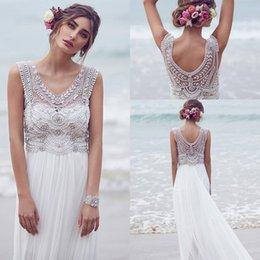 Wholesale Bohemian Custom Made Anna Campbell Wedding Dresses Beading Crystals Sleeveless Chiffon Beach Floor Length Luxury Boho Bridal Dress