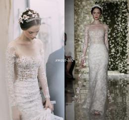 Wholesale Reem Acra Amazing Lace Applique Long Sleeve Wedding Dresses Full Winter Sheer Neck Floor Length Tulle Sheath Bridal Wedding Gowns Cheap
