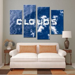4 Panel Cloud Words Set Paints Wall Painting Print On Canvas For Home Decor Ideas Paints On Wall Pictures Art Cuadros Flores Word Wall Canvas Deals