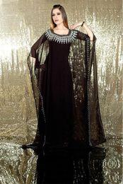 Wholesale New Elegant Charming Embroidered Black Long Sleeve Chiffon Dubai Abaya Kaftan Dress Evening Dress