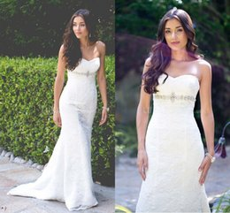 Wholesale Cheap White Lace Sweetheart Beading Mermaid Long Flamboyantly Grecian Style Wedding Dresses Lace Up Back With Buttons Back Custom