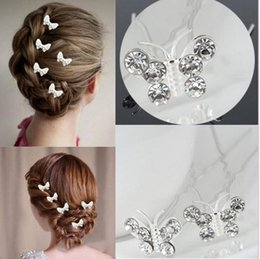 Wholesale Fashion bridal butterfly hair clip accessories for wedding hot Bridesmaid crystal rhinestone butterflies Hair Pins Clips accessory jewelry