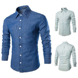 Discount Denim Button Up Shirts   2017 Denim Button Up Shirts on ...