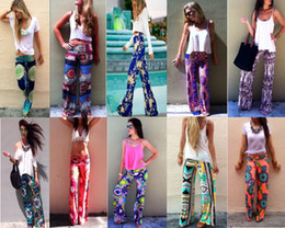 Wholesale Summer Ethnic Style Harem Palazzo Wide Leg Hip Hop Disco High Waist Floral Printed Straight Jeans Pants Trousers For Women Sarouel Femme