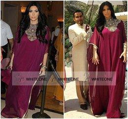 Wholesale Kim Kardashian Burgundy Chiffon Party Formal Gown Custom Make Gold Beaded Full length Evening Dresses