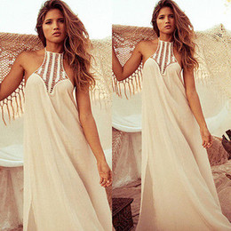 Wholesale Vintage Hippie Boho People Long Maxi Evening Party Chiffon Dress Beach Dresses