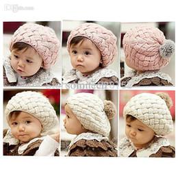 Wholesale Kids Girls Baby Handmade Crochet Knitting Beret Hat Cap Cute Warm Beanie H6622 P