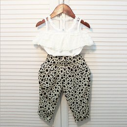 Wholesale 2015 Kids Girls Summer Outfits Crochet Lace Off shoulder Tank Tops Floral Casual Loose S Pants Children s Clothing Babies Sets